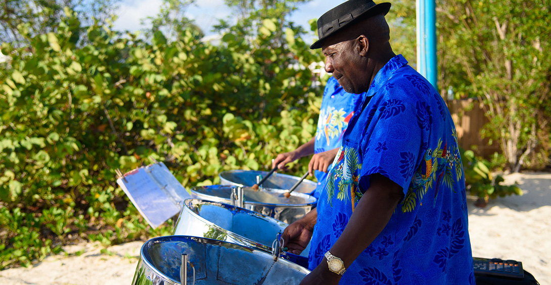 Steel drum band plays at wedding on Meads Bay beach in Anguilla
