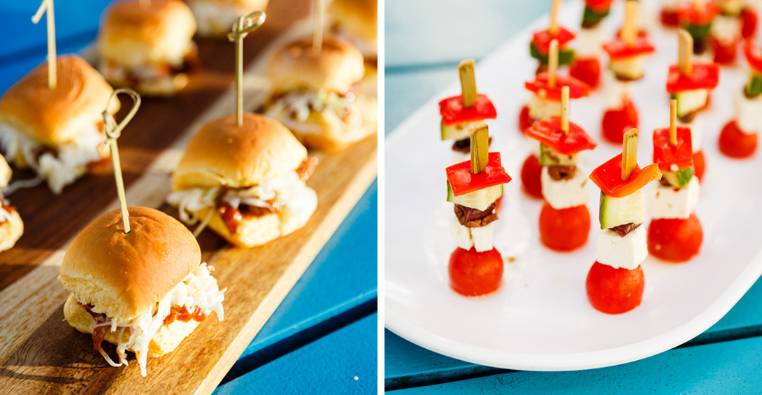 Appetizer platters with sliders and mini caprese skewers