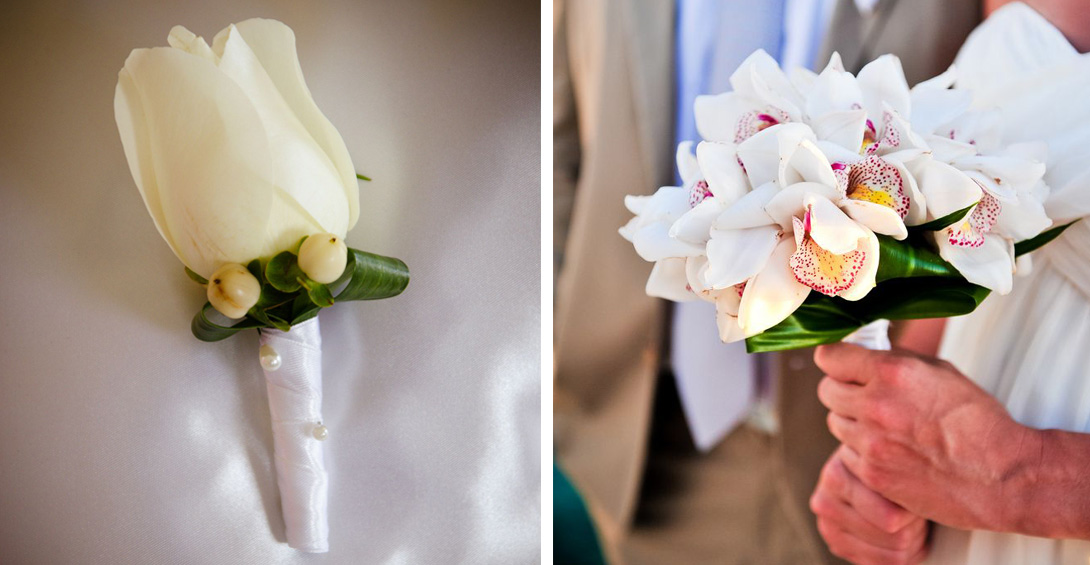 Wedding bouquet and white rose boutonniere