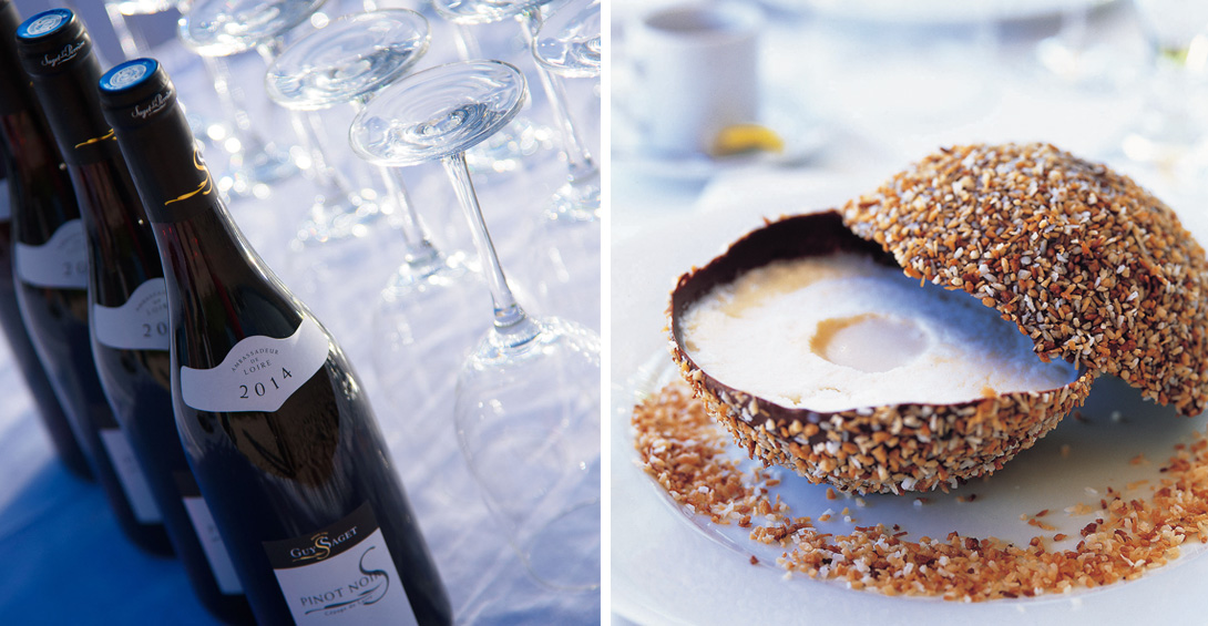 Blanchards cracked coconut dessert and wine