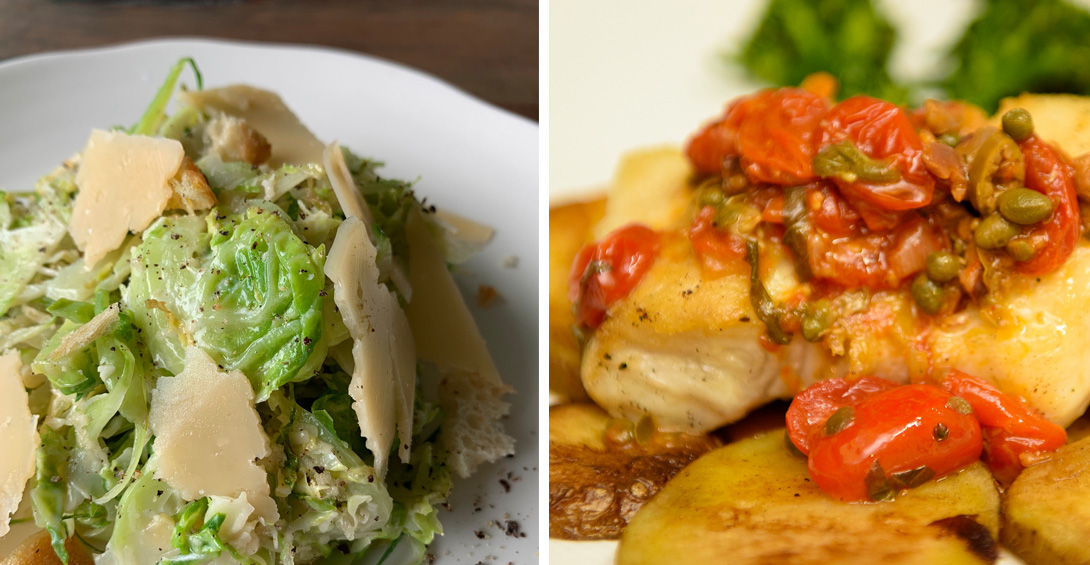 Food from plated dinner menu with brussel sprout caesar salad and Grouper Nicoise
