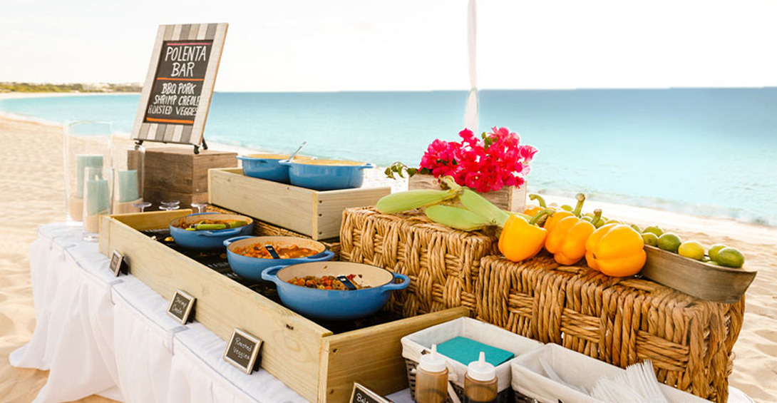 Decorative table with Blanchards taco bar on the beach