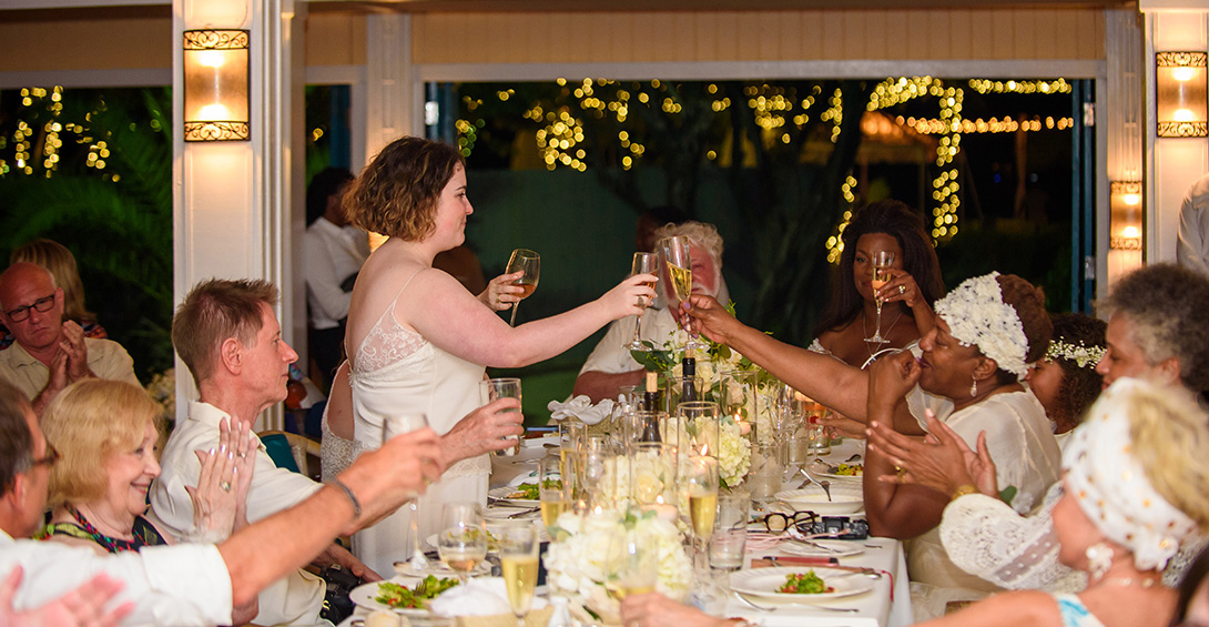 Wedding toast at Blanchards restaurant in Anguilla