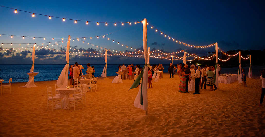 Twinkly lights over Blanchards private event on meads bay beach
