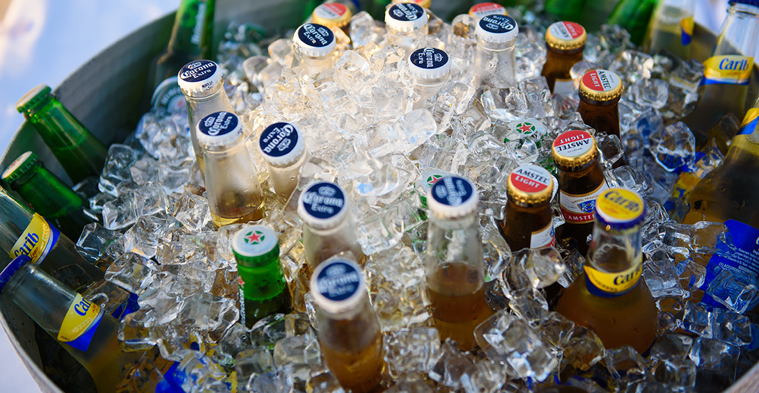Beers chilling in ice buckets at Blanchards Beach Shack private event