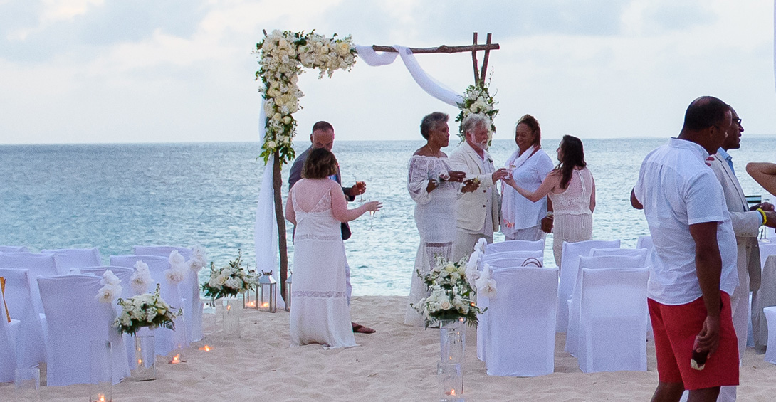 Guests at wedding party on meads bay beach in Anguilla