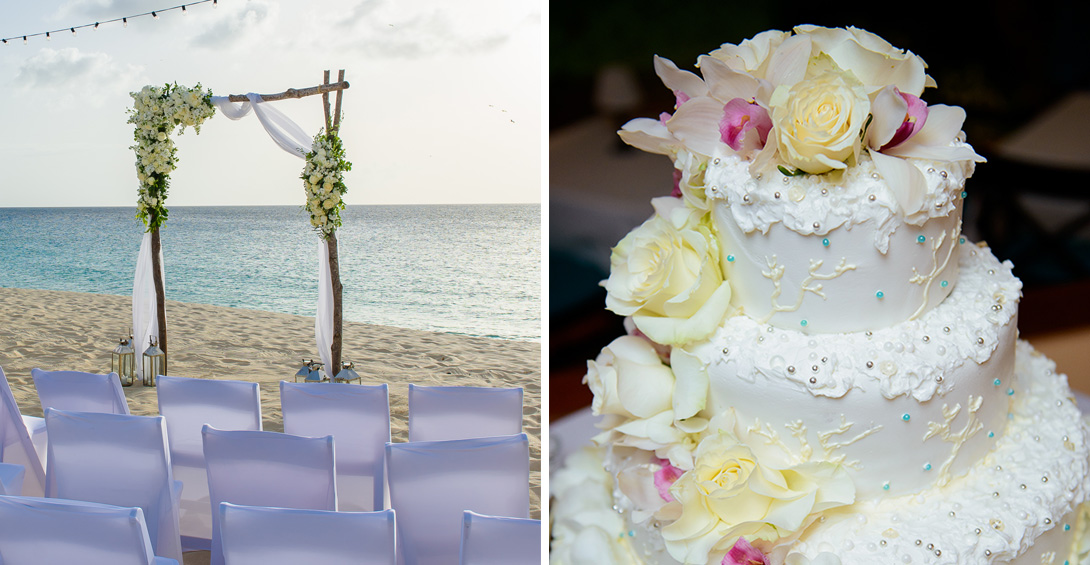 Wedding ceremony on Anguilla's Meads Bay Beach and wedding cake inside Blanchards