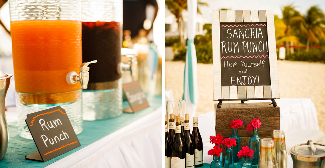 Blanchards sangria and rum punch station on decorative tables