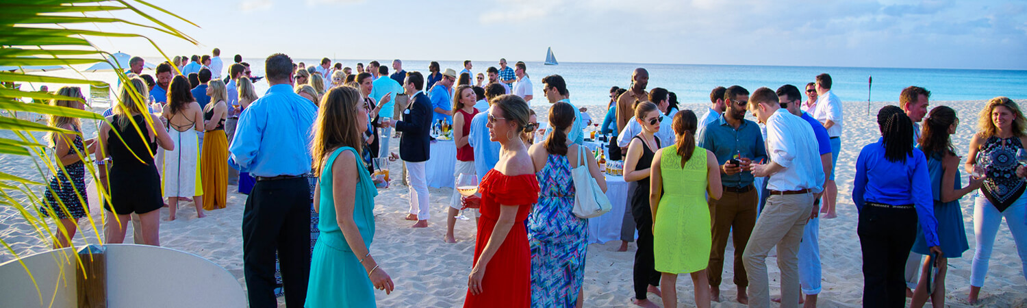 Guests at cocktail hour on beach during a private event at Blanchards in Anguilla