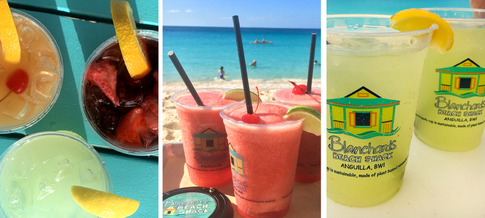 Tropical drinks on Meads Bay beach from Blanchards Beach Shack with fresh garnishes
