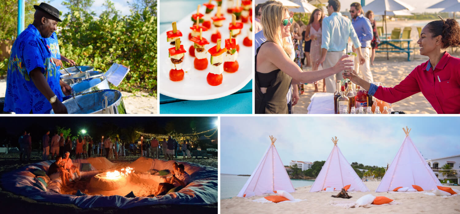 Details of events include band appetizers bar bonfire with sand couch for ultimate private party on beach