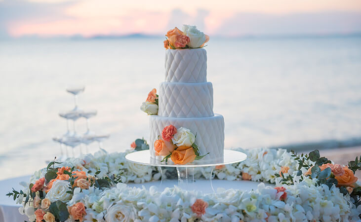 Wedding cake for beach ceremony in Anguilla