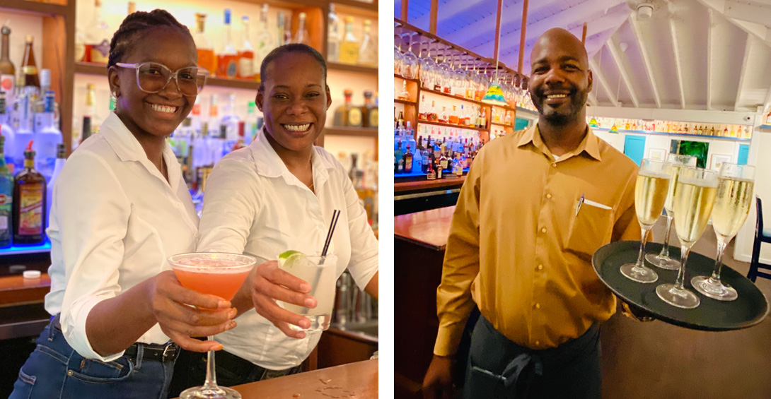 Bartenders serve champagne and cocktails
