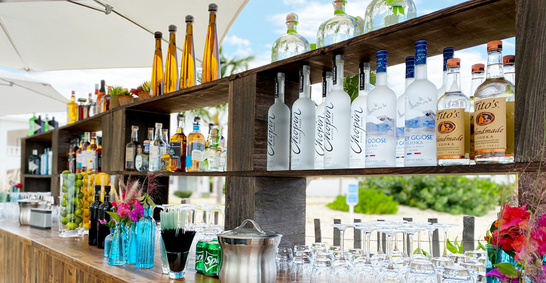 Private bar on Meads Bay beach for a private event