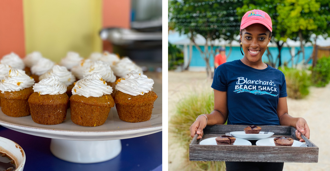 Cupcakes on display and passed during private event in Anguilla on beach