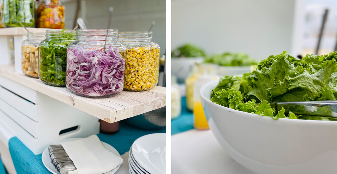 Self serve salad station for private beach party