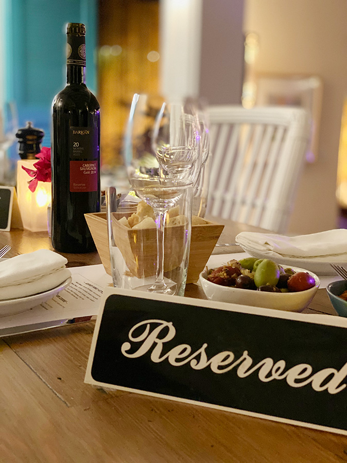 reserved sign at blanchards restaurant for group dinner.