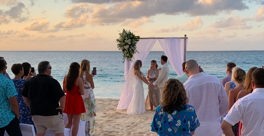 Anguilla beach wedding ceremony at sunset